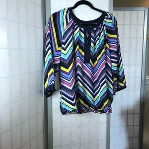 Banana Republic colorful blouse with chevron print